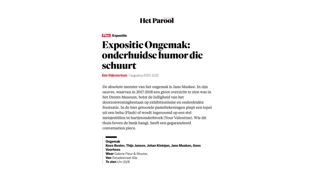 Jans Muskee, Het Parool, 7 augustus 2020