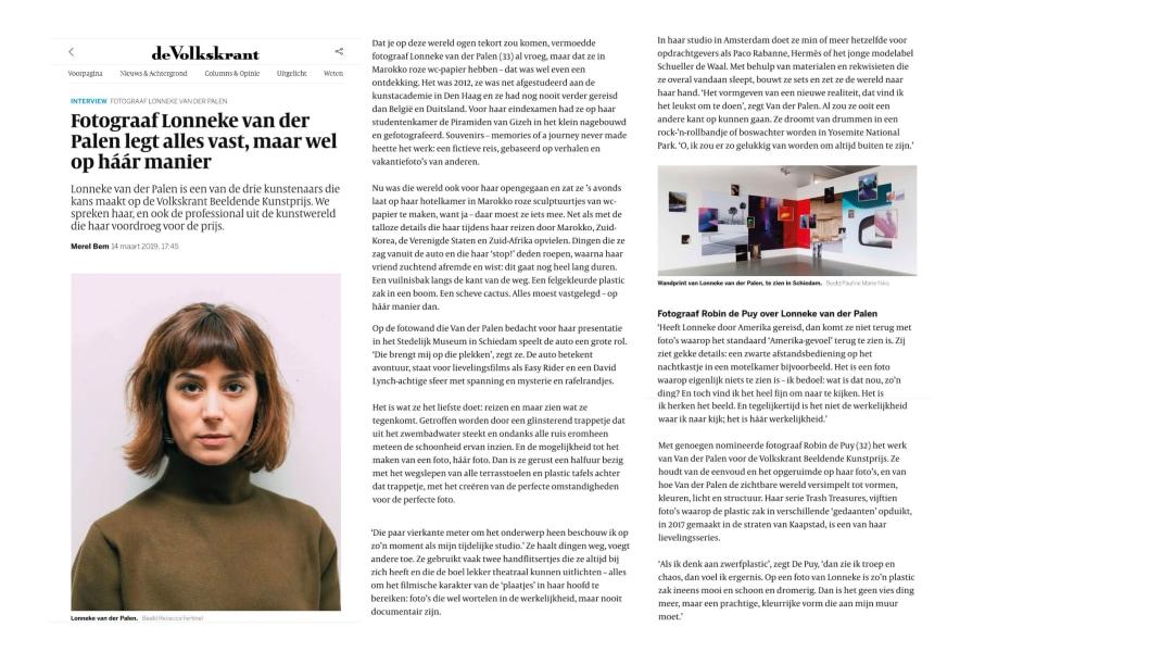Lonneke van der Palen, De Volkskrant, March 14, 2019
