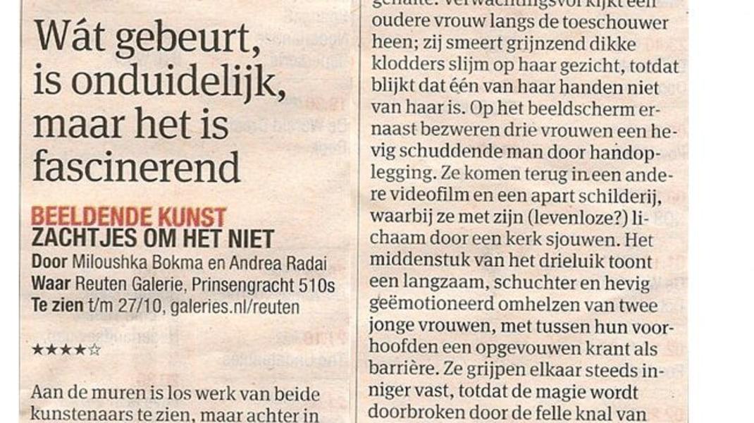 Miloushka Bokma, Article in Dutch newspaper