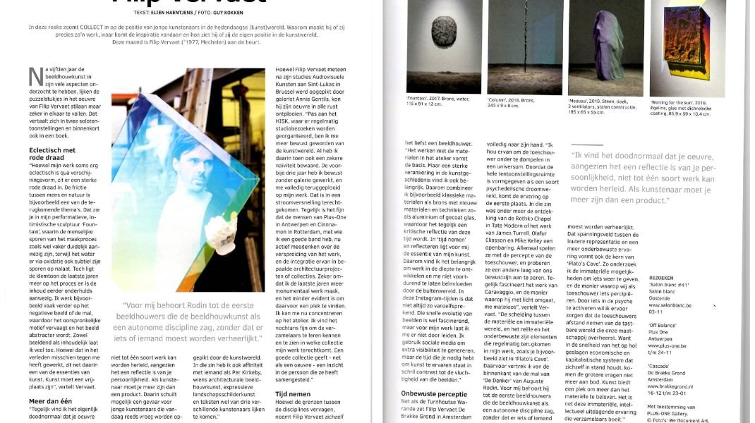 Filip Vervaet, Filip Vervaet - kunstenaar van de maand in Collect Magazine, 2019