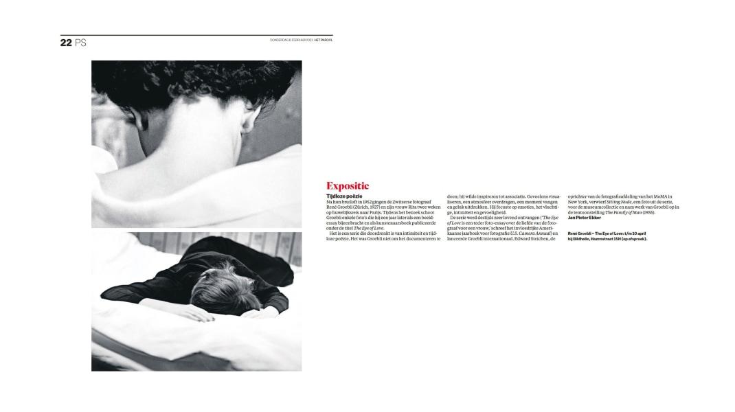 René Groebli, HET PAROOL - article about the exhibition THE EYE OF LOVE at Bildhalle Amsterdam by Jan Pieter Ekker February 2021
