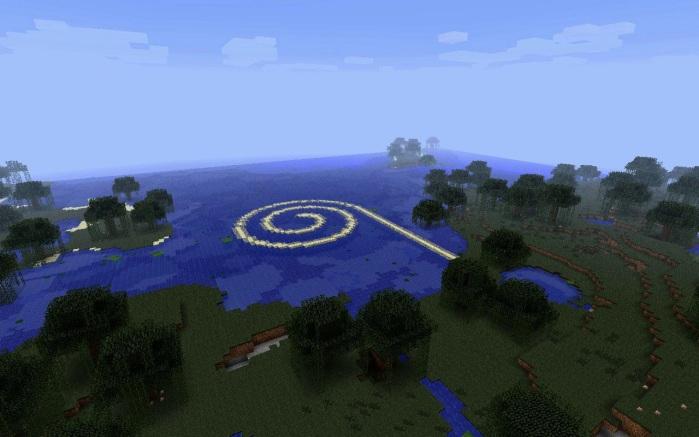 Jan Robert Leegte, Remake of Robert Smithson's Spiral Jetty in Minecraft