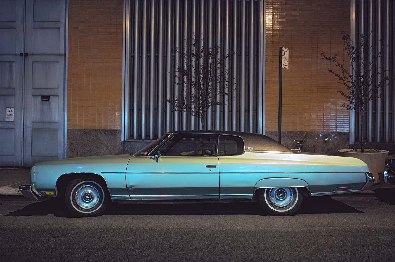 Langdon Clay, Silver Fish, Chevrolet Impala Custom Coupe in front of Con Edison Substation