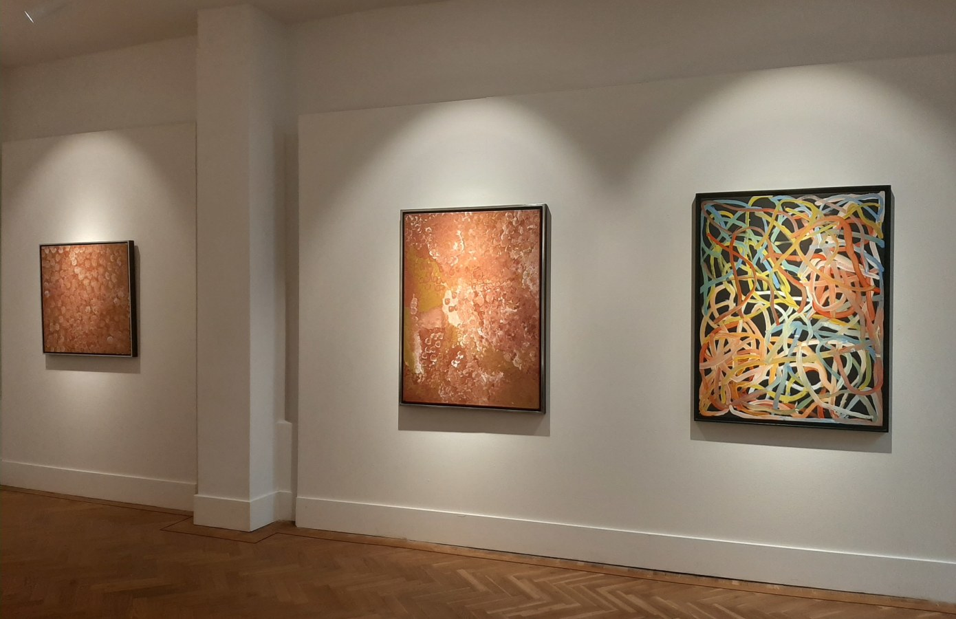 "Origins, Australian Aboriginal Art, ""Mrs. Bennett"", Sarrita & Tarisse King, Emily Kame Kngwarreye, Kudditji Kngwarreye, Nyanyuma Napangati, Naata Nungurrayi, Angelina Ngale Pwerle, Freddie Timms, Ronnie Tjampitjina, Warlimpirrnga Tjapaltjarri, George 'Hairbrush' Tjungu,"