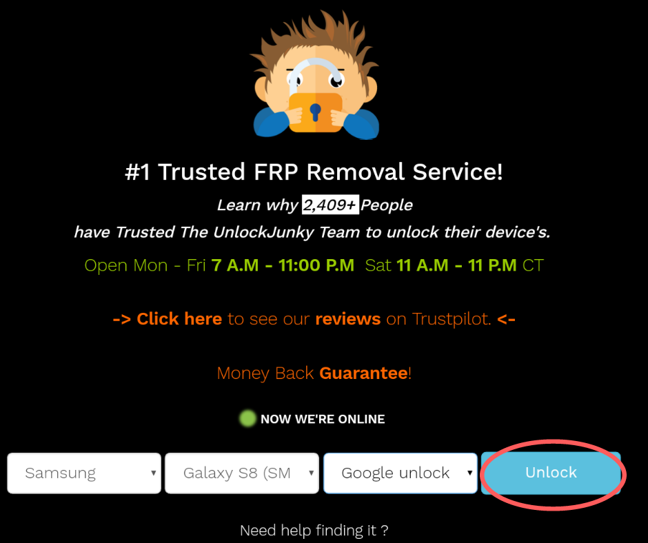 Purchase your FRP bypass with UnlockJunky