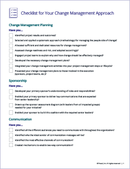 Checklist for Change Management Approach