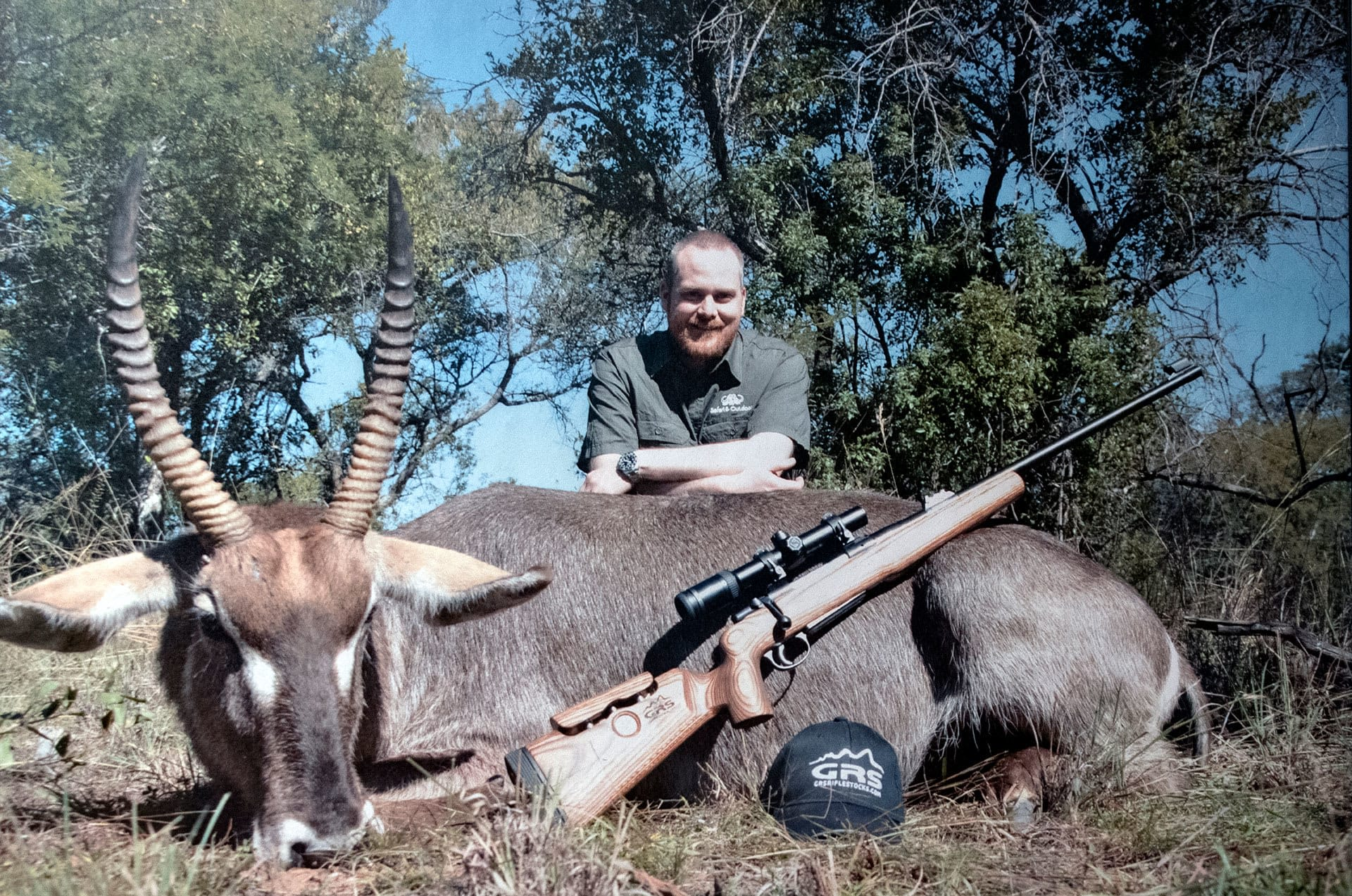 Photo of GRS's founder, Oscar Haugen, hunting in Africa