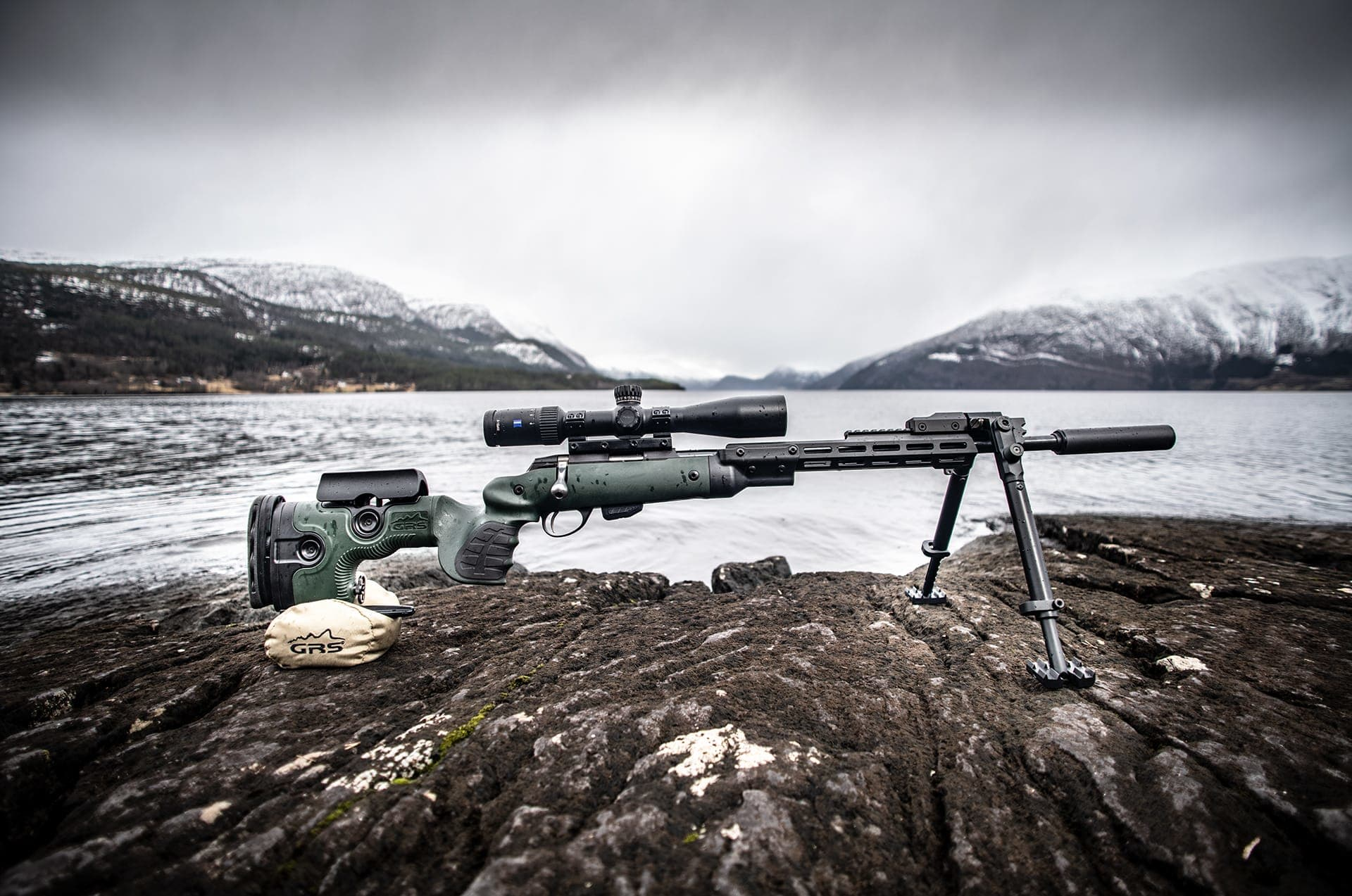 Photo of GRS Warg, complete rifle, with GRS Bipod, by Hornindal Lake