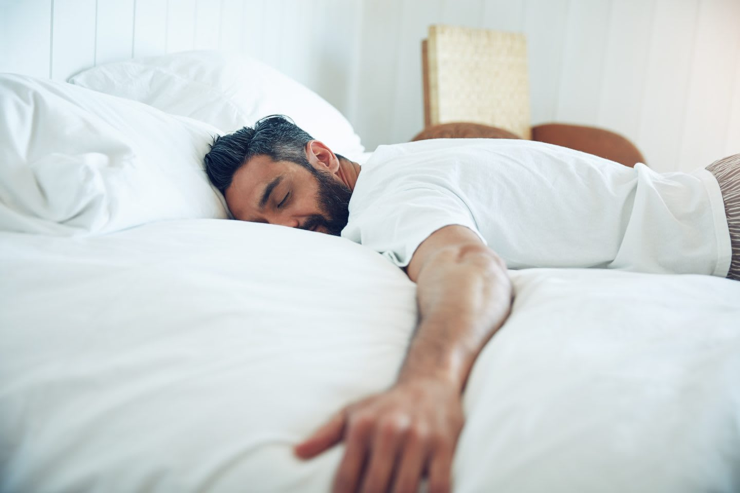 Shot of a mature man lying on his bed and sleeping. sleeping, comfort, snoozing, sleep pattern, bed