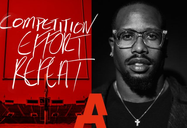 American NFL American football star Von Miller poses with the words competition effort and repeat beside him. american football, NFL, athlete, competition, effort, repeat