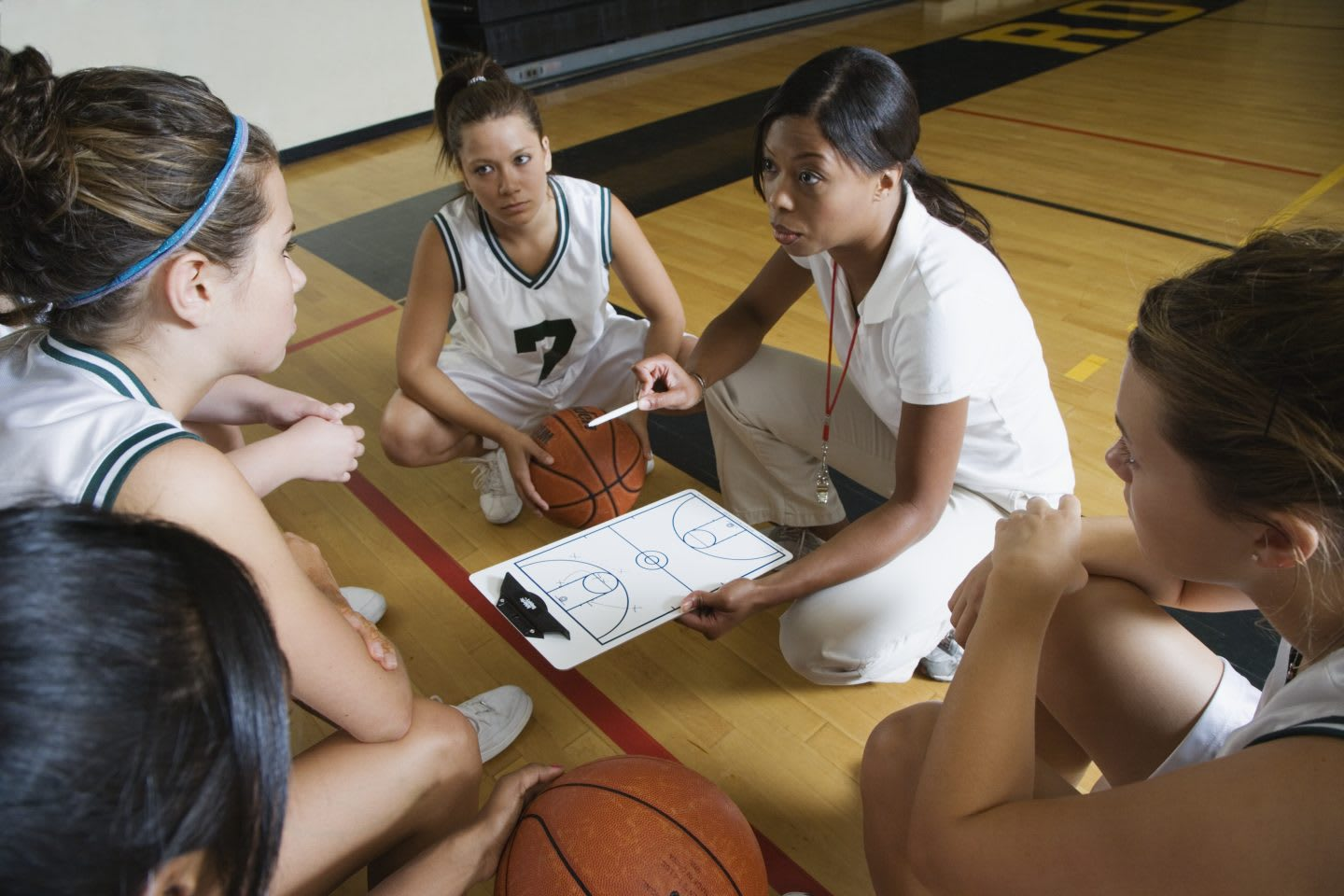 Coach with female basketball team. team, basketball, coach, plan, sport