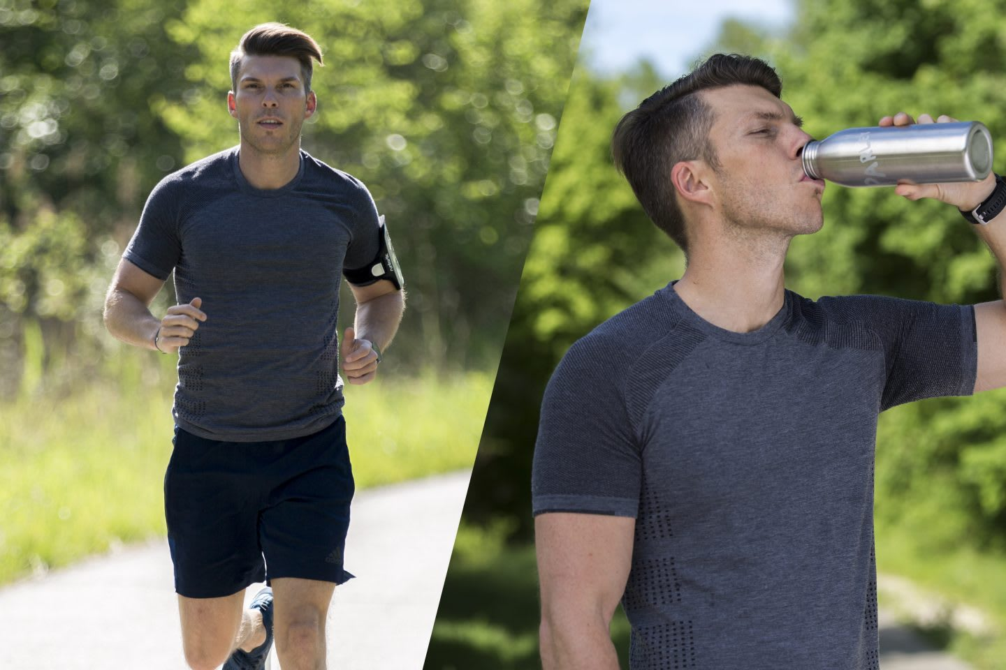 A man is running outdoors and later takes a breather and drinks some water from a reusable water bottle. water, run, running, sustainable, outdoor, man