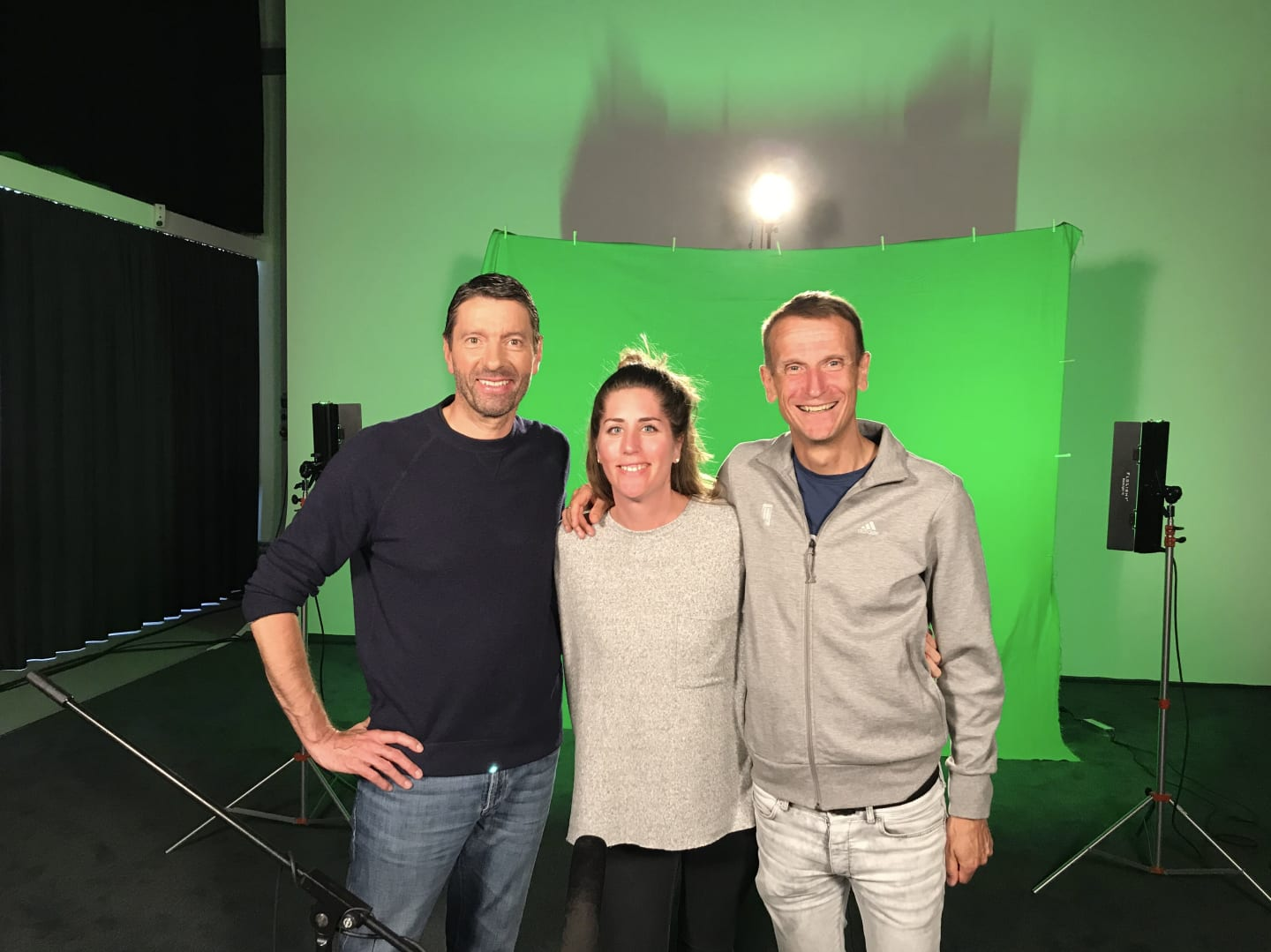 Group picture of adidas CEO Kasper Rorsted, employee Maaike Dejeu and Jan Runau at a video shooting set. GamePlan A, work life, lifestyle, job, health