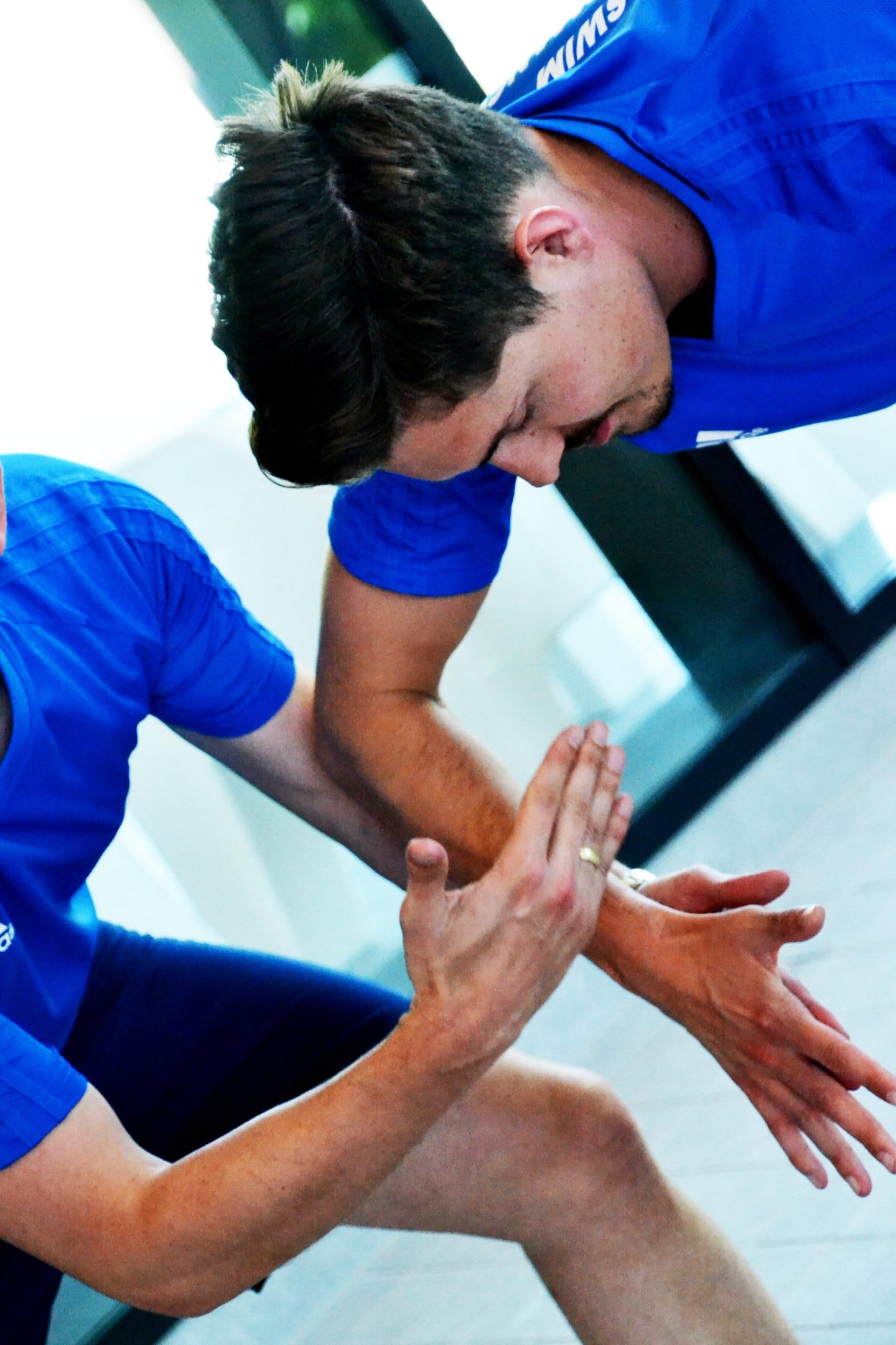 Two teammates high five. team, encouragement, teamwork, motivation