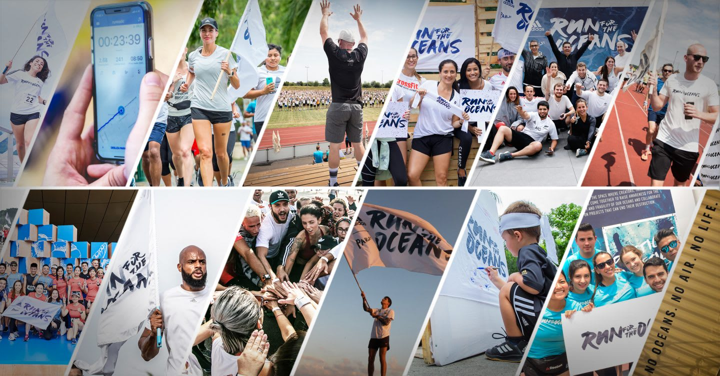A collage of pictures from run for the oceans showing activation all across the world. ocean, run, running, parley, run for the oceans