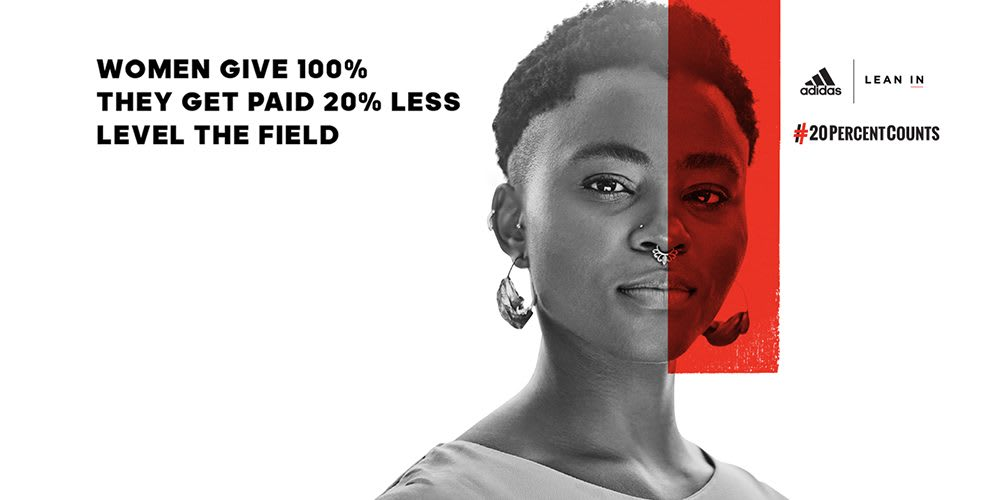 Campaign picture from the Lean In x adidas 20 Percent Counts campaign. gender pay gap, women, equality, diversity, Sheryl Sandberg