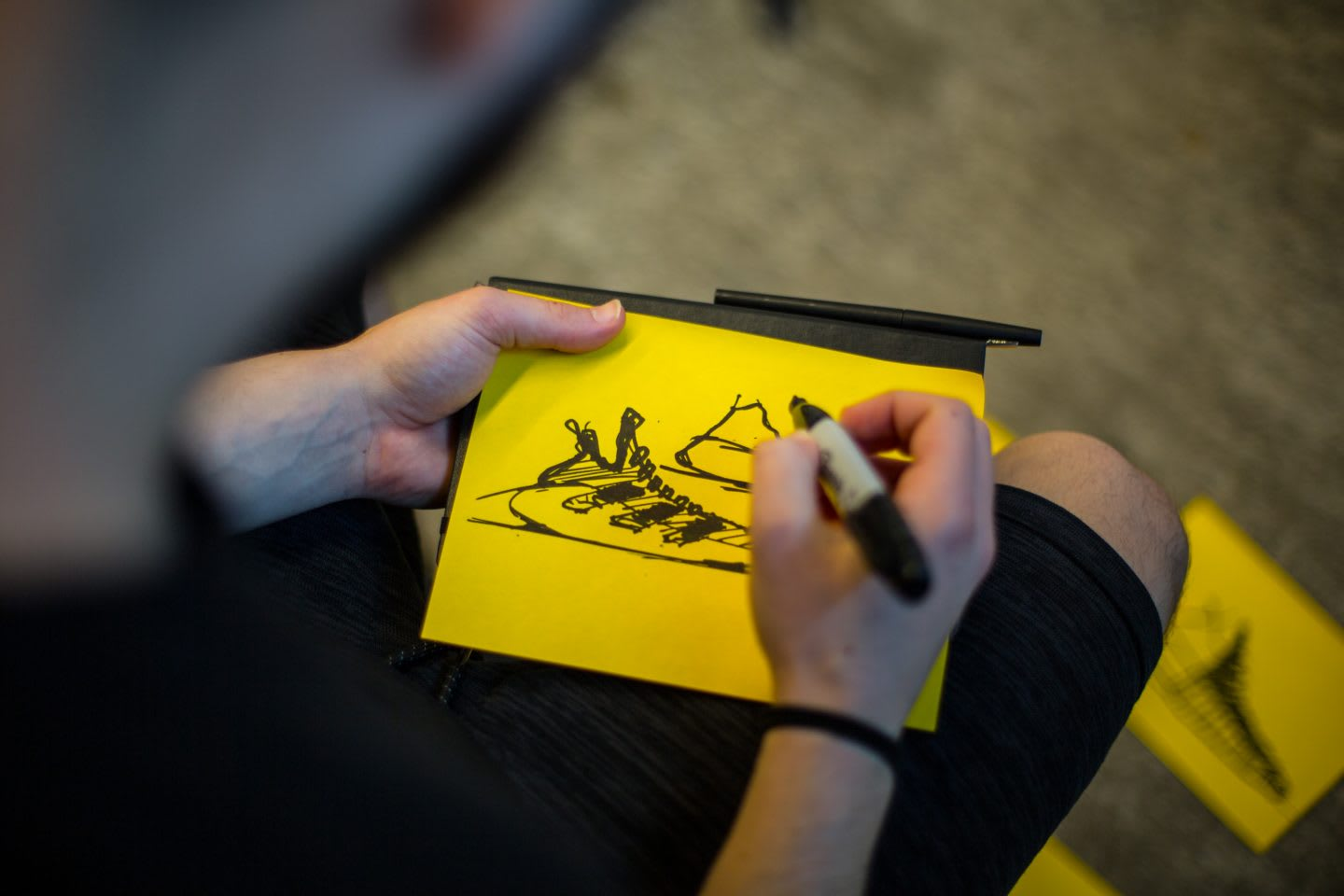 Someone drawing a quick sketch of an adidas sneaker, idea generation, design, footwear design, sketching, creative work, creativity, work processes, Brooklyn Creator Farm, adidas, GamePlan A