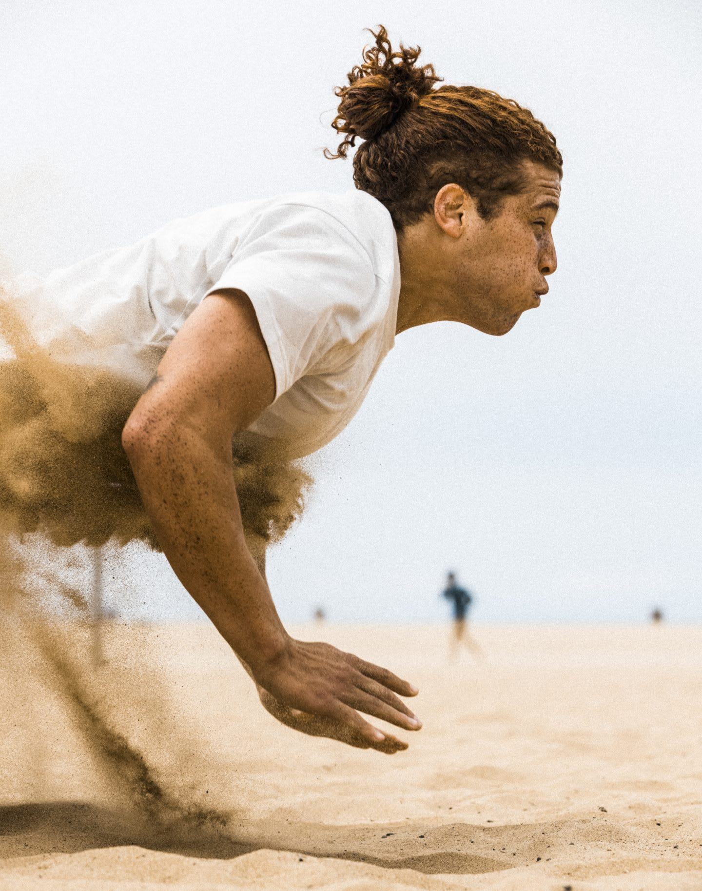 Man doing clapping push ups on the sand, motivation, commitment, performance, purpose, goals, gymnastics, adidas, GamePlan A