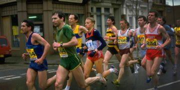 Grete Waitz from Norway running with the men during the London Marathon in London, marathon run, London marathon, female runner, female athlete, feminism, achievement, sports marketing, adidas, GamePlan A