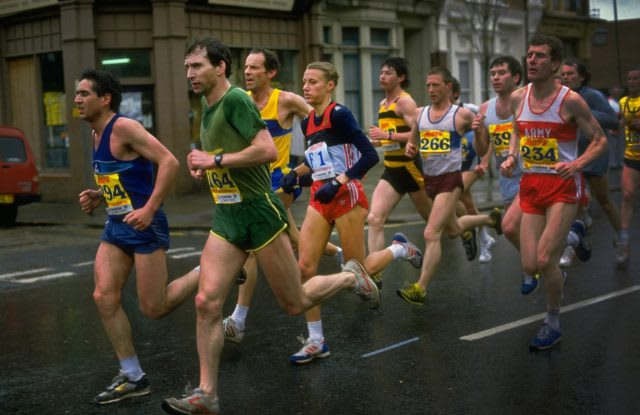 Grete Waitz from Norway running with the men during the London Marathon in London, marathon run, London marathon, female runner, female athlete, feminism, achievement, sports marketing, adidas, GamePlan A