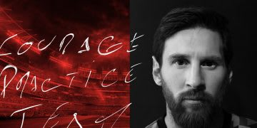 Lionel Messi, red stadium, black and white, courage, practice, team, inspiration, footballer, Three Words With, GamePlan A