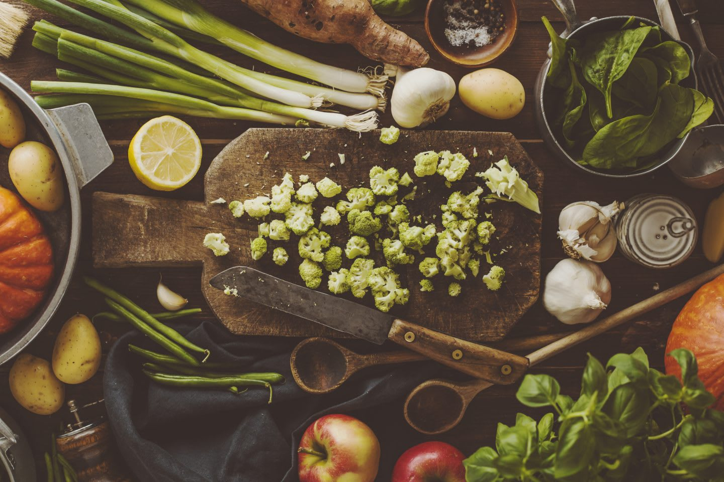 Cooking ingredients on the table in the kitchen, vegetables, healthy, cooking, preparation. recipe, holiday season