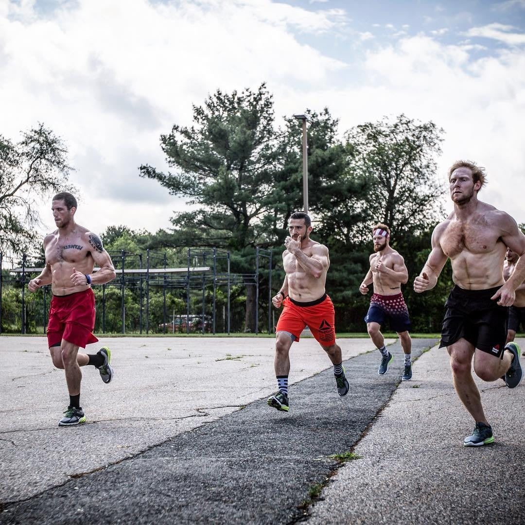 A group of CrossFit athletes running during a workout. work-life balance, family, business, productivity, prioritization, fatherhood, career, Reebok, GamePlan A