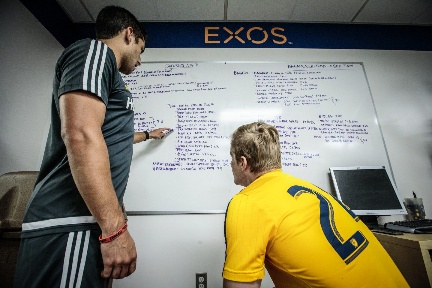 Two men in gym clothes sitting in front of a white board discussing steps of a strategy. goal setting, planning, consulting, achieving goals, strategizing, GamePlan A