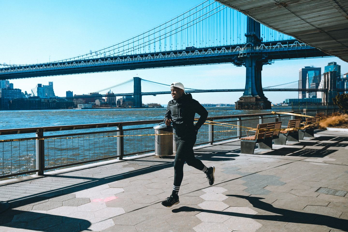 Man running along the Hudson River in New York City with sunny weather. City running, marathon training, mindset, inspiration, GamePlan A.