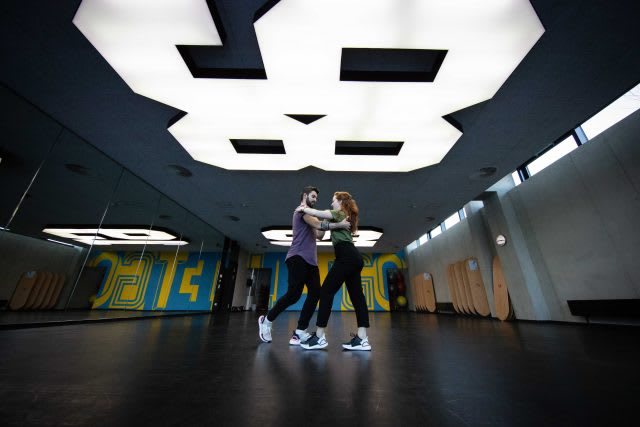 A couple dancing in a studio. follow, lead, partner dance, collaboration, GamePlan A