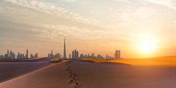 Dubai scenery at sunrise, Looking along desert towards the business district. motivation, running, winning culture
