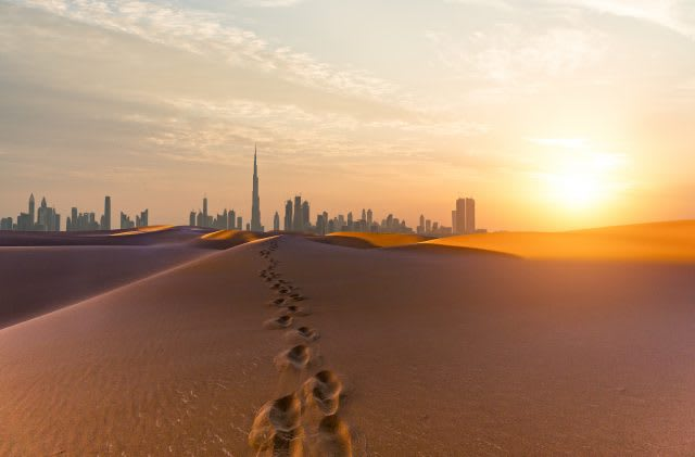 Dubai scenery at sunrise, Looking along desert towards the business district. motivation, running, winning culture