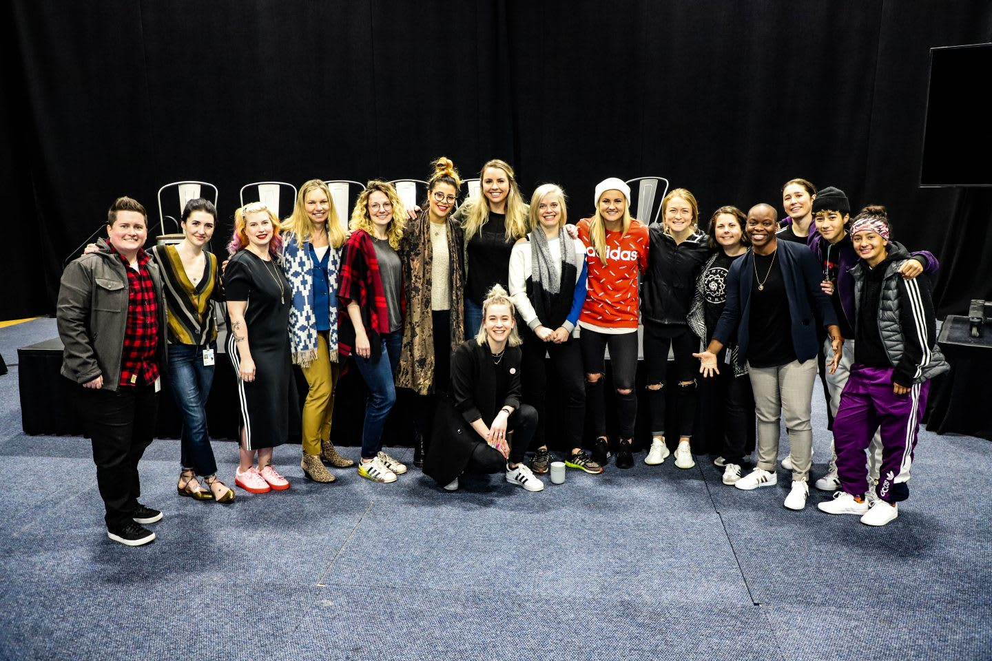 A group picture with adidas employees and soccer players Emily Sonnett and Lindsey Horan. girls in sport, empowerment, diversity, Womens World Cup