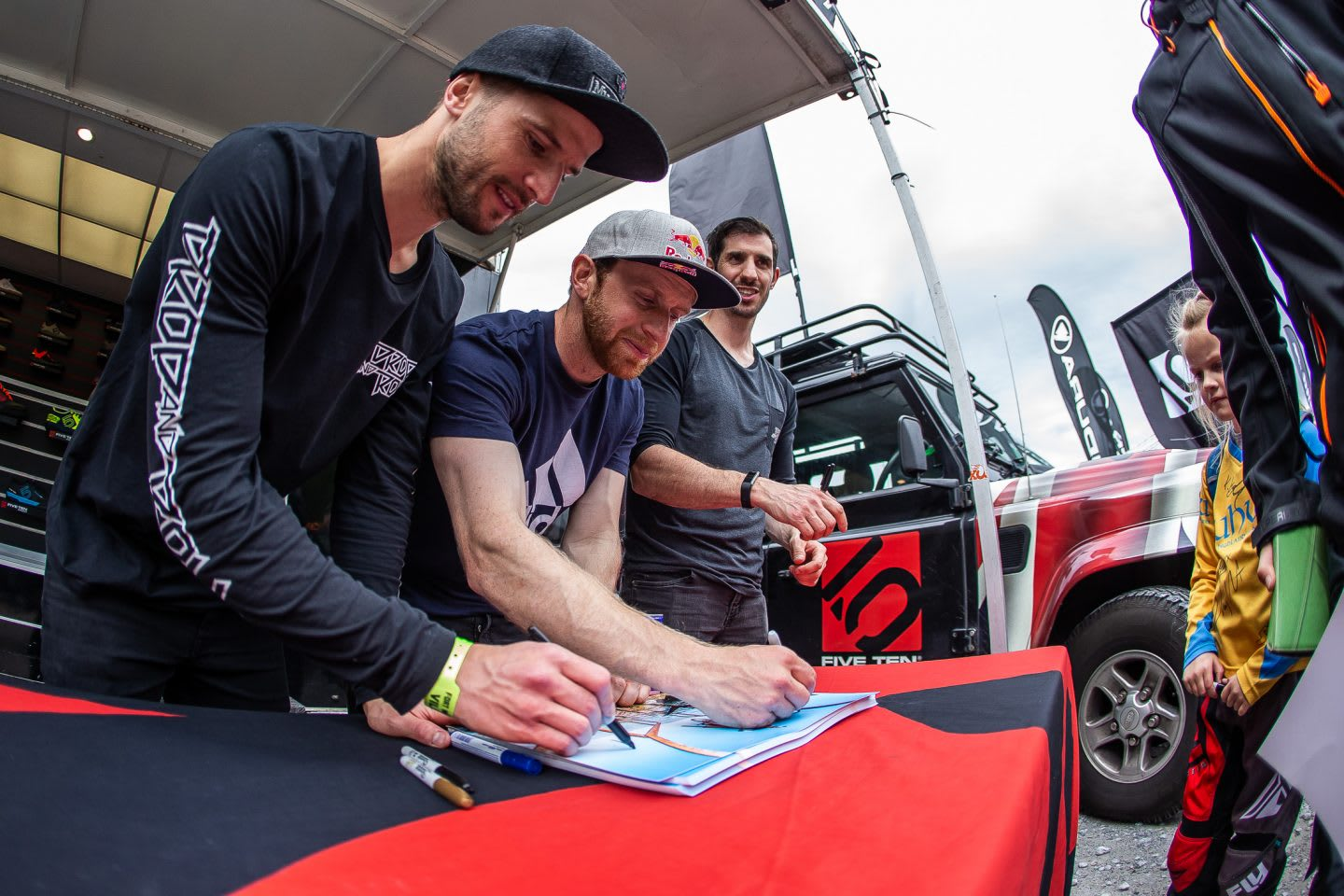 Mountainbike pro Danny MacAskill is signing autographs