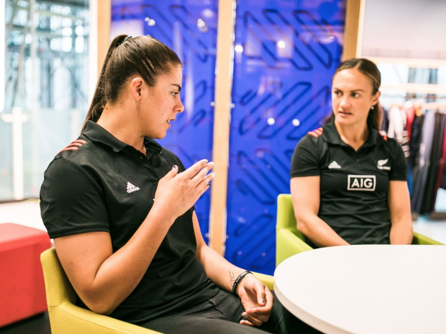 Les Elders and Eloise Blackwell from the women's rugby team Black Ferns during an interview with GamePlanA