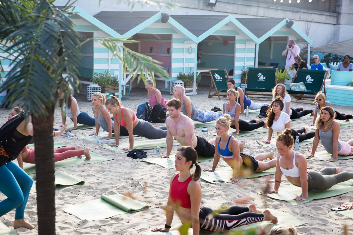 Young people do yoga on a beach surrounded by beach huts and palm trees. Wellness, Gameplan A. beach