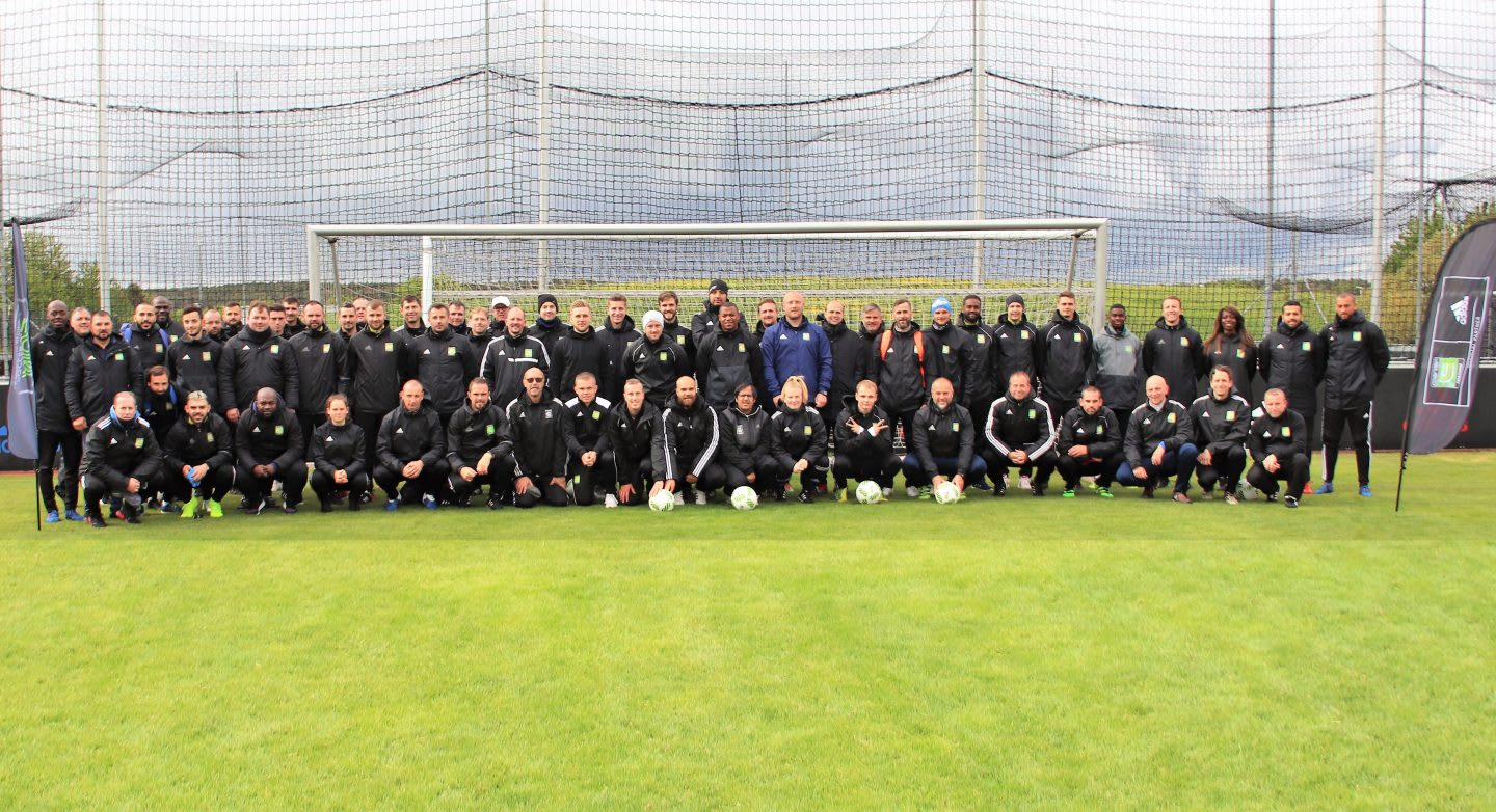 Coerver coaches group picture on the football pitch - coaching teams