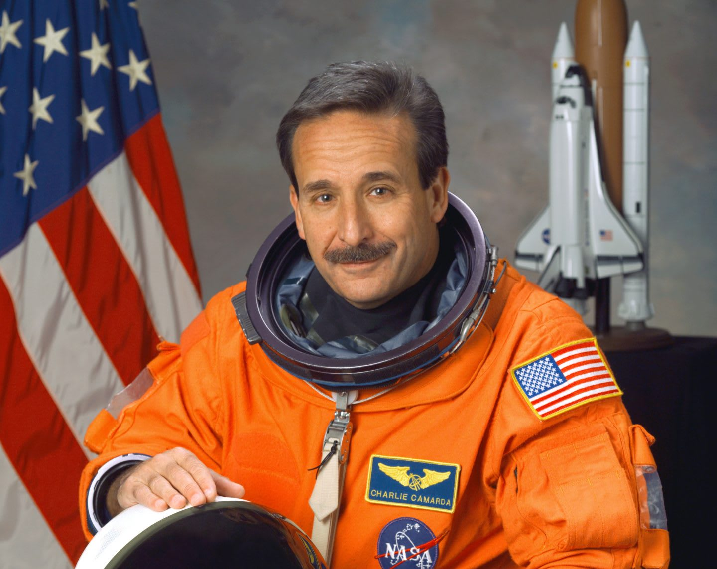 Portrait of Charlie Camarda in his space suit. diversity, innovation, creativity, team work, GamePlanA