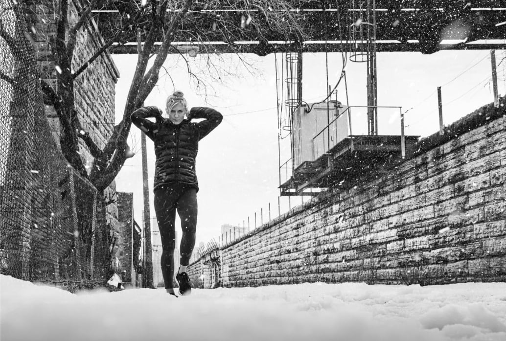 women walking in the snow, holiday season