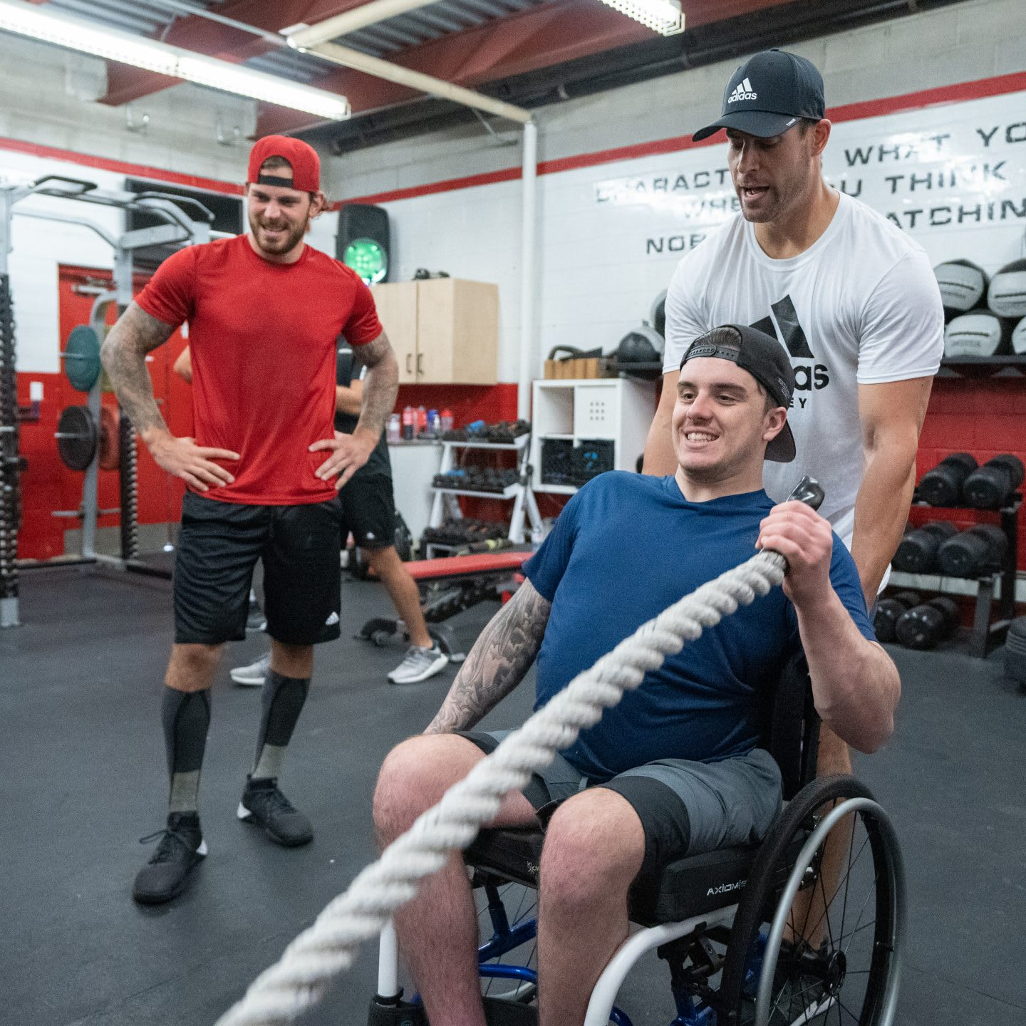 disabled hockey player exercising in a wheelchair, paralyzed hockey player