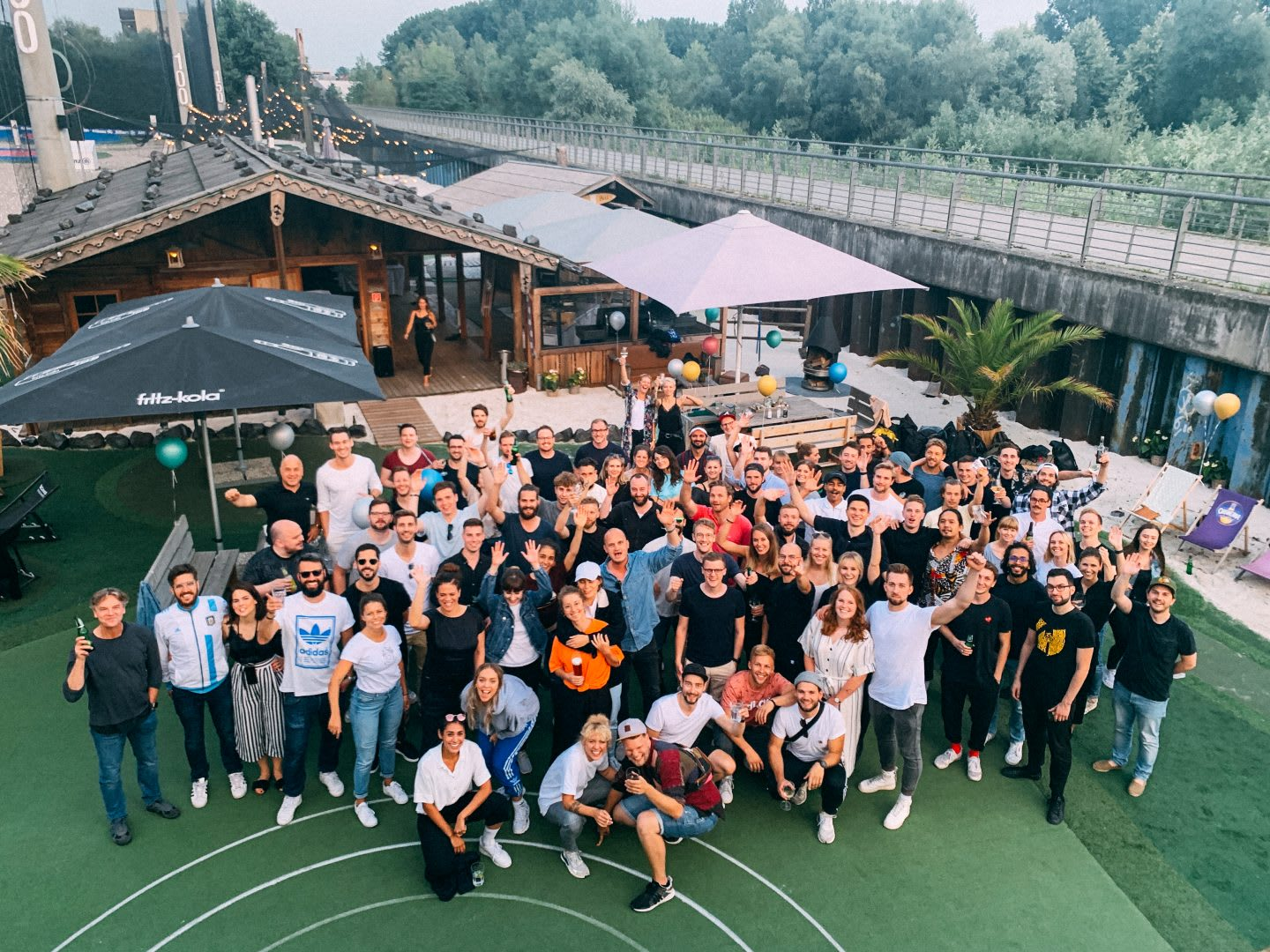 Group photo in an outdoor location. How to build a creative workplace culture, JvM, workplace, collaboration, creativity, team-building, GamePlan A