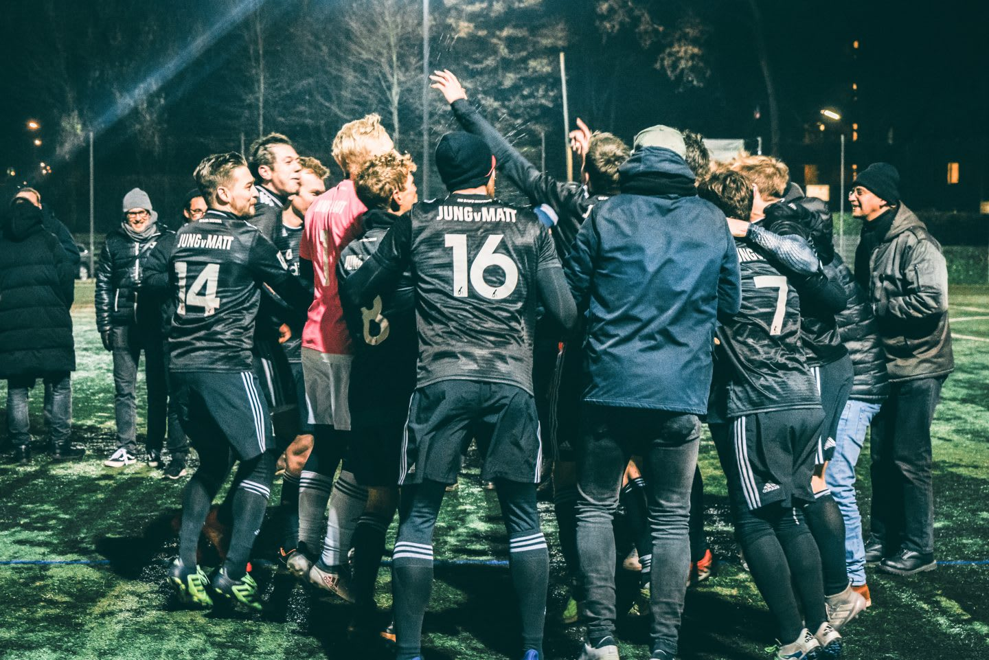 JvM soccer team celebrating on the field. How to build a creative workplace culture, JvM, workplace, collaboration, creativity, team-building, GamePlan A