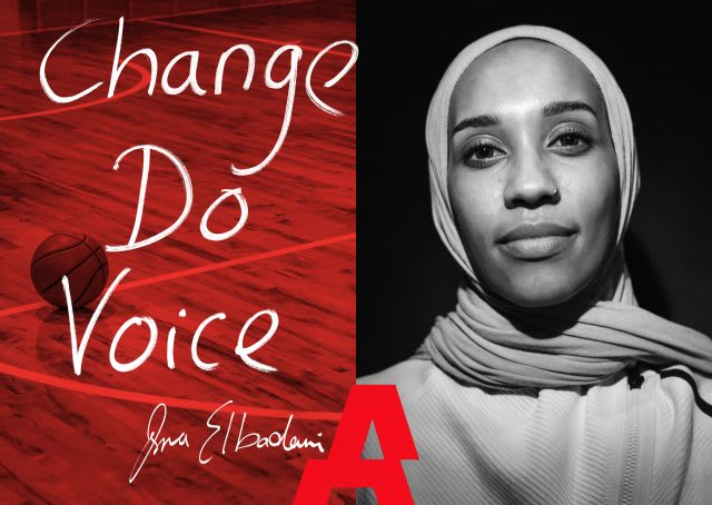 Asma Elbadawi posing on a cover image with text, raise awareness