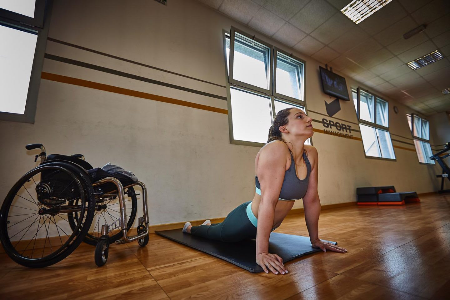 handicapped women doing yoga