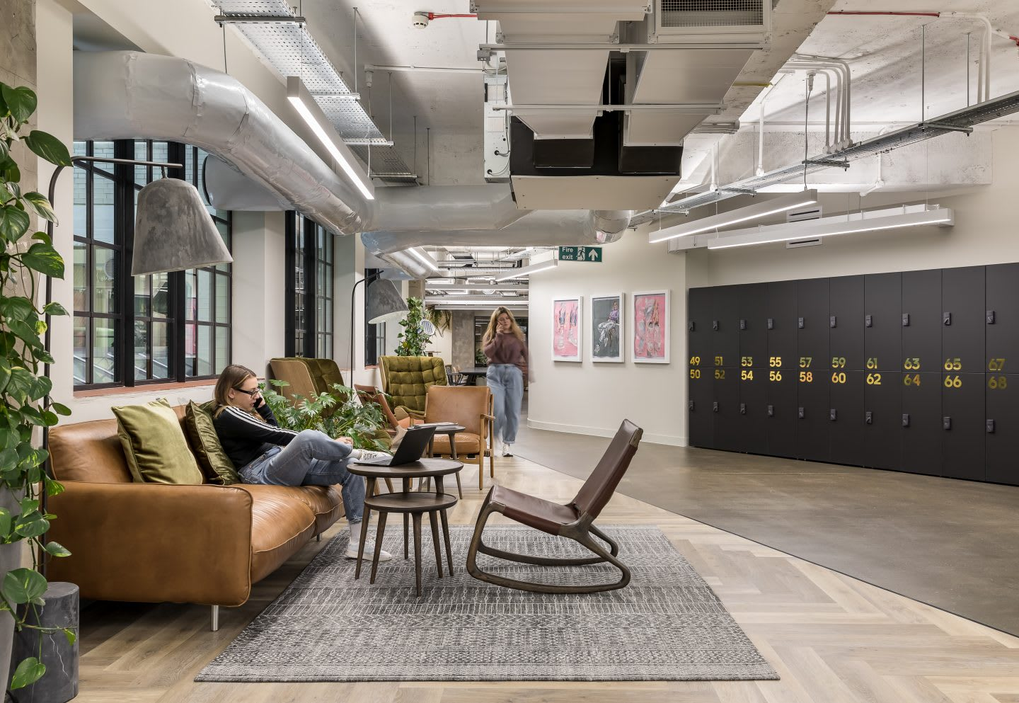 couch in open working area, workplaces, adidas company culture collaboration, developing creativity, working in adidas