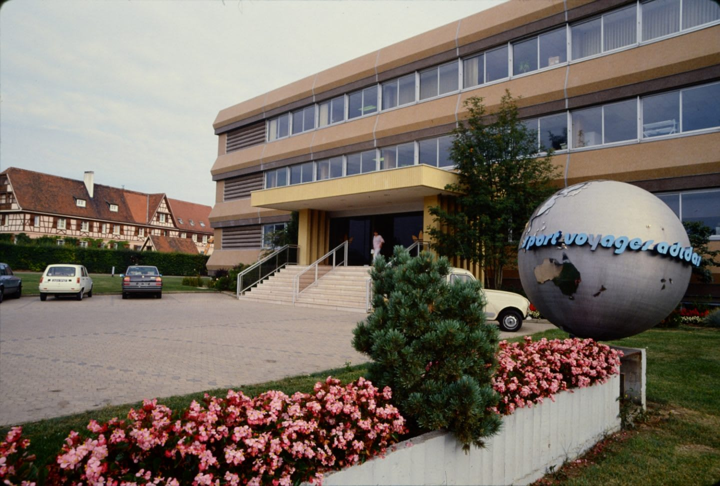 Image of the front of adidas French head office taken in the 1970s.