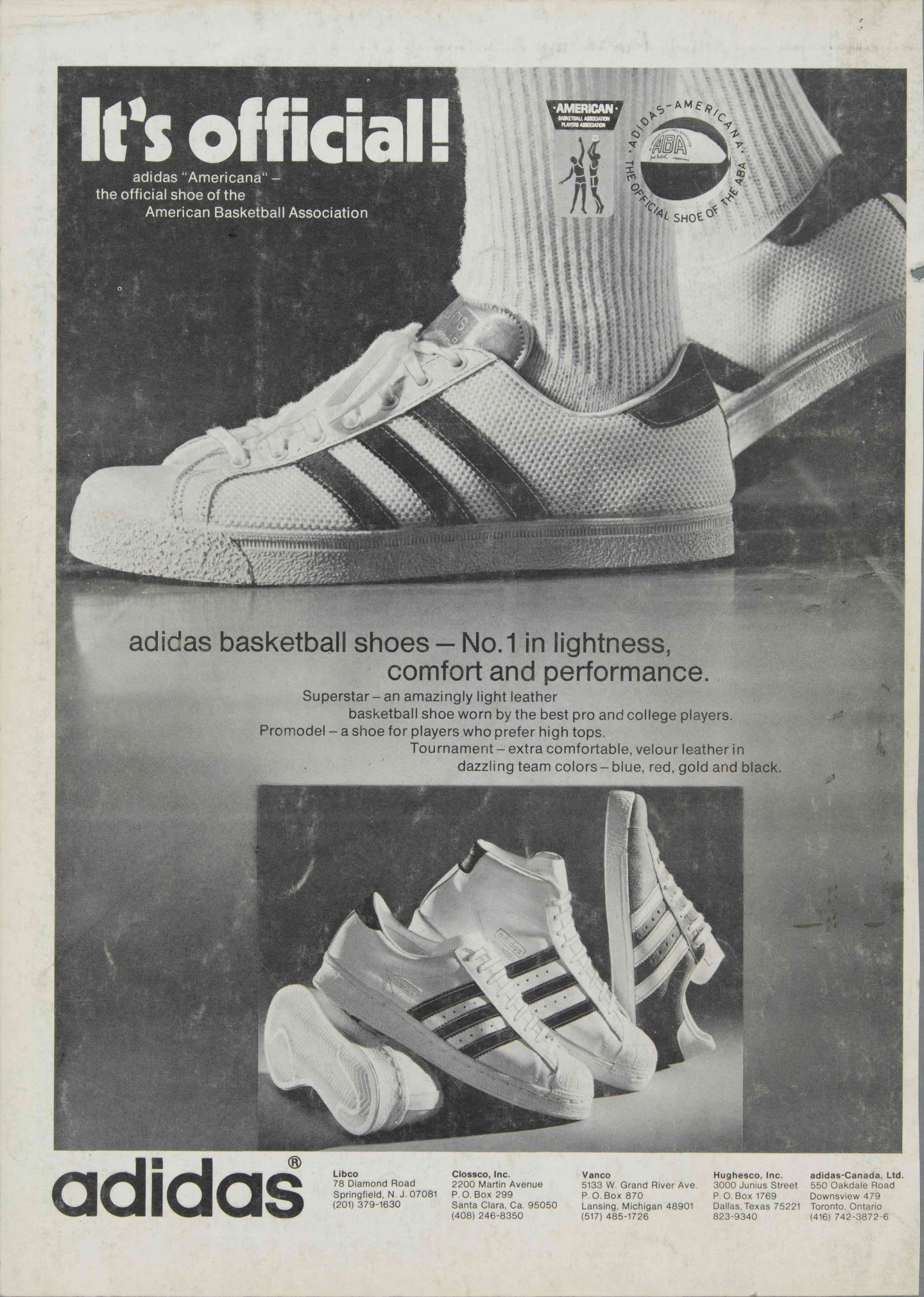 Black and white advertisment poster for the adidas supergrip shoe. The shoe is depicted on a person's foot and in a pile of all the different versions of the shoe.