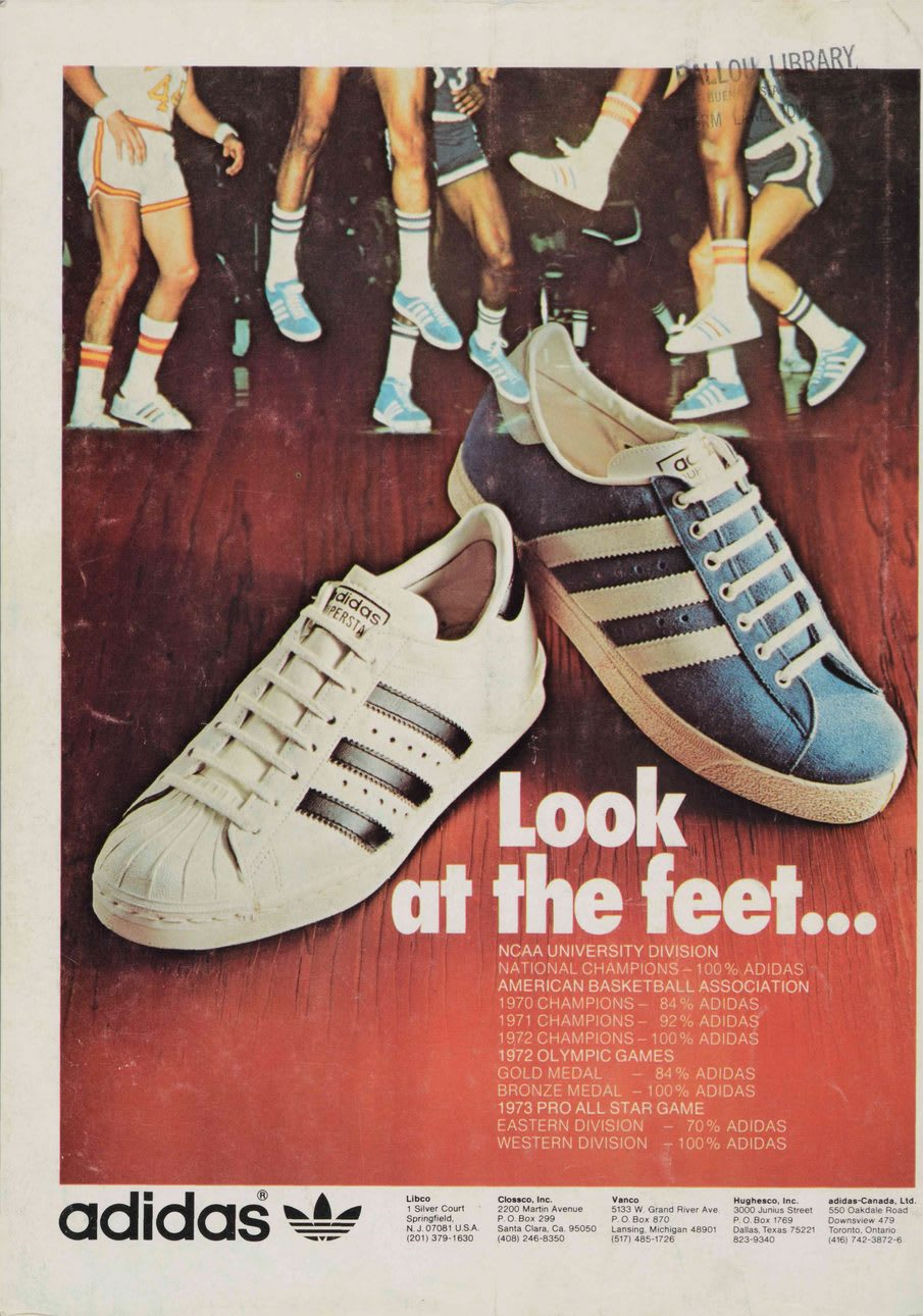 Advertisment poster for the adidas Supergrip depicting the title 'Look at the feet' with basketball players feet depicted jumping.
