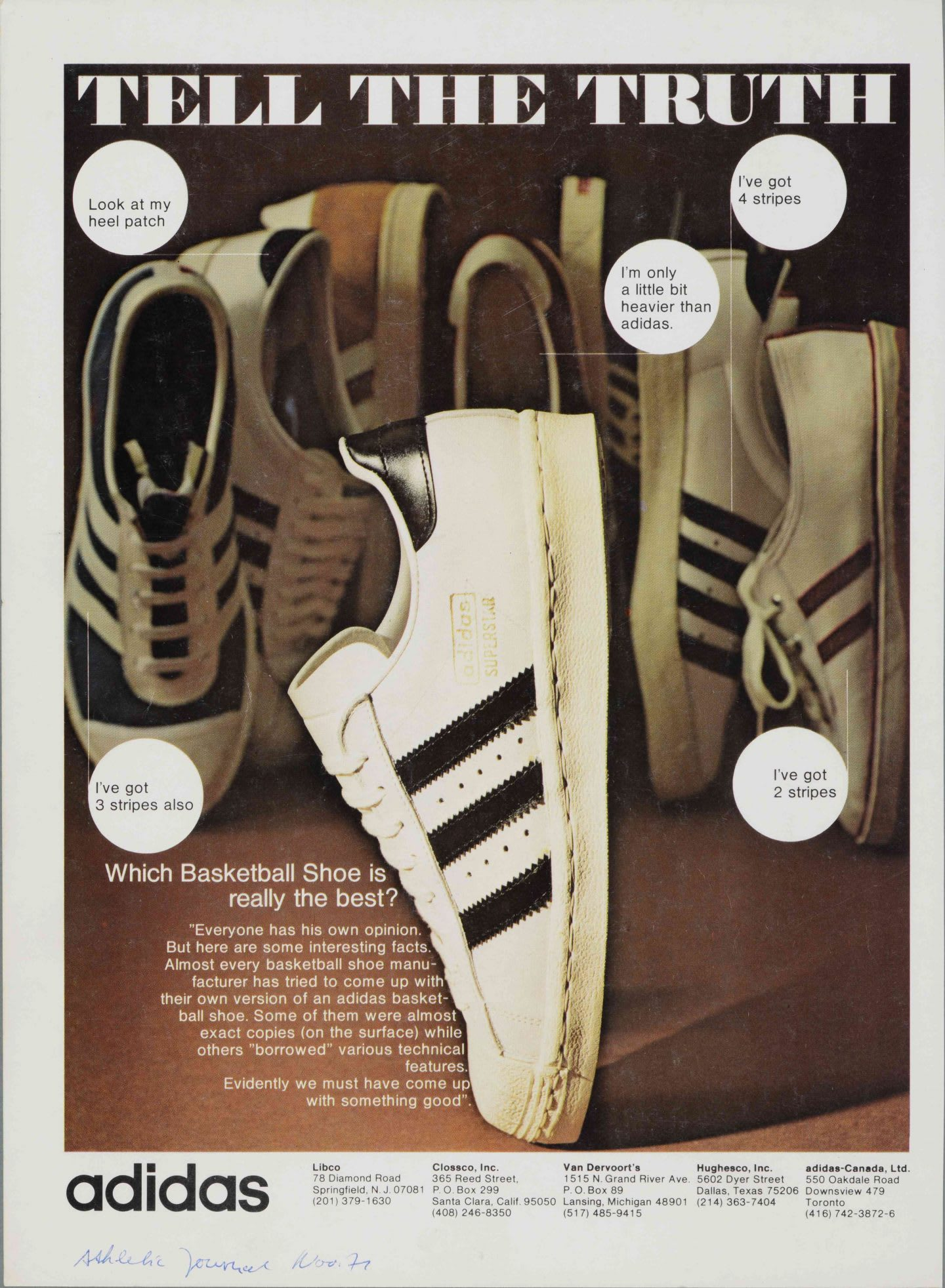 Advert depicting an adidas superstar shoe with different colourways depicted in the background.