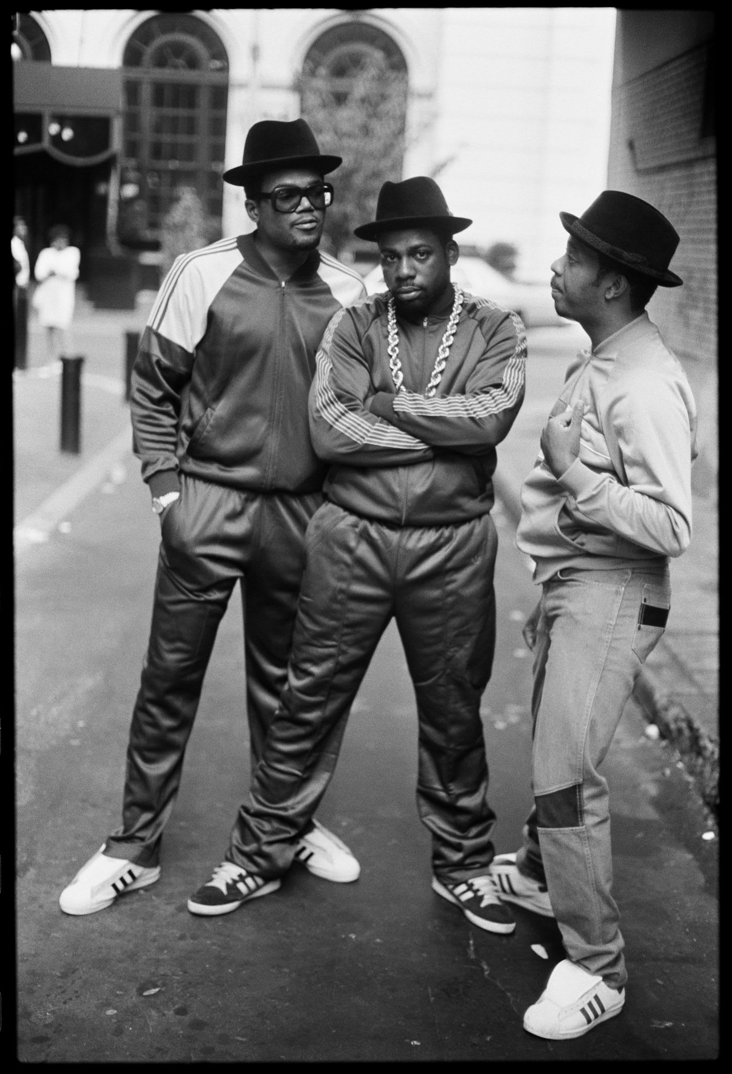 Black and White image of Run DMc in their adidas Superstar sneakers.